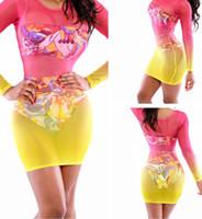 vestido de terno amarelo venda por atacado-Mulheres Vestidos Para A Praia Colorida Completa Manga Praia Capa Ups Bainha Bodycon Pareo Mulheres Túnica Maiô Maiô Rosa Amarelo