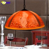 Wholesale Vintage Oil Lamps - FUMAT Creative Vintage Art Stained Glass Decor Red Oil painting Shade Pendant Lights Restaurant Living Room LED Pendant Lamps