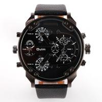 Wholesale Oulm Double - 2016 Fashion Oulm-3548 Men Sport Wrist watches 3548 Double Time Zone Oulm Quartz big dial Watch man 5Colors ems gift 20pcs