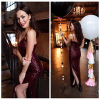 Wholesale Sexy Ladies Stripping - Sexy Spaghetti Strips Sheath Prom Dresses Side Split Floor-Length Full Sequined Dark Red Sexy Backless Evening Party Gowns For Ladies