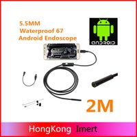 Wholesale Endoscope Camera Usb Medical - Waterproof HD 2M 5.5mm Endoscope Mini USB Camera Borescope Photo Capture Inspection Scope 6 White LEDs Tube for Android Phone PC