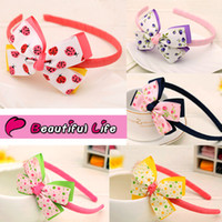 Wholesale Ladybug Ribbon Wholesale - Hot Selling Korean Children Mix Color Cute Flowers & Ladybug Pattern Ribbon Bowknot Baby Girl Headbands Kids Hair Accessories Free Shipping