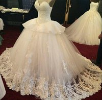 Wholesale Sweetheat Wedding Dress - 2016 Luxurious Ball Gown Lace Wedding Dresses Open Back Sweetheat Peplum Ruffles Bridal Dress Middle East Style