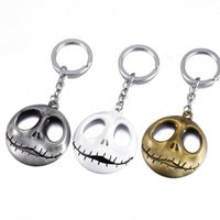 Wholesale Skull Head Alloy - Movie Jewelry The Nightmare Before Christmas Pumpkin King Santa Jack Keychain Skull Head Skellington Men Key Chain