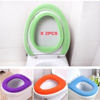 Wholesale Toilet Seat Cover Warmers - 2pcs O-shaped Toilet Mats 100% Acrylic Material Anti-microbial Warm Seat Covers(color randomly)
