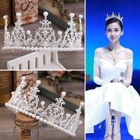 ingrosso la fascia della torta-Corona nuziale di lusso Sparkle Rhinestone Crystals Roayal Wedding Crowns Cake Pearls Crystal Hairband Accessori per capelli Party Diademi