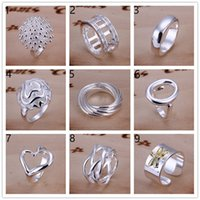 Wholesale Order Asian Fashion - Mix order 10 pieces diffrent style 925 silver rings GSSR001A Factory direct sale brand new fashion sterling silver finger ring