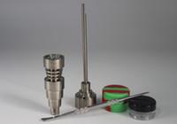 ingrosso plastica in titanio-Nuovo set di strumenti per bong 10/14 / 18mm Domeless Gr2 titanio tappo in carb per unghie Dabber Dab Rigs in silicone e vaso di plastica adatto a bong in vetro