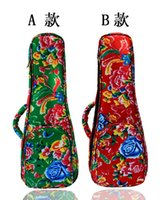 Wholesale New Vintage inch soprano concert tenor ukulele thicker bag backpack case soft gig beautiful patten Phoenix Flower green red color