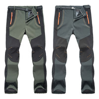 Wholesale pants gore tex xxl - Wholesale- fashion style Winter Men Women Hiking Pants Outdoor Softshell Trousers Waterproof Windproof Thermal for Camping Ski Climbing