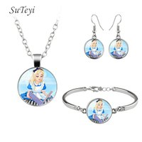 Wholesale Cartoon Princess Picture - Wholeasle Cartoon Pattren Jewelry Sets Beautiful Princess Glass Bracelet Print Picture Silver Plated Necklace With Round Hooks Earrings