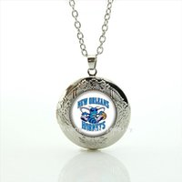 Wholesale Pictures Happy - Cute cartoon picture happy jewelry locket necklace New Orleans Saints Newest mix 32 sport present for boys and girls NF132