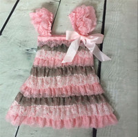 Wholesale Western Dresses For Baby Girls - Baby Girls Knee-Length Dresses for Summer Pink Grey White Lace Western Girls Outfit Lace Girls Romper Dresses