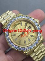 Wholesale Nail Square Diamond - NEW Luxury 41mm Gold Big diamond Square diamond nail dial Mechanical man watch Blue Diamond Automatic Stainless steel men's watches