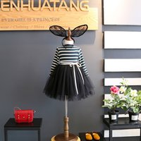Wholesale Stripe Skirt Girls Tutu - Girls Dresses Fashion Korean stripe long sleeve Girl Princess Dresses kids Pettiskirt Party Dresses Tutu Skirt Children Clothes A1134