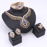 conjunto de colar de casamento de safira venda por atacado-Moda declaração de casamento colar de lima peru Peru colar Parure Bijoux Femme criado safira banhado a ouro colar conjunto
