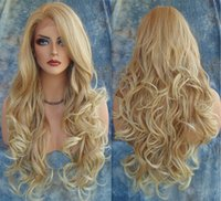 Wholesale Natural Long Blonde Hair Wig - Hot Long Wavy Synthetic Wigs 2016 Fashion Costume Hair Wigs Charming Curly Blonde Wigs for Women JF024