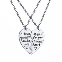 """Wholesale Heart Touch Love - """"A True Friend Reaches For Your Hand And Touches Your Heart"""" Broken Heart Pendant Necklace Set Best Friends BFF Jewelry Gift"""