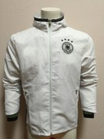 impermeables largos al por mayor-16-17 Alemania Deutschland impermeable blanca de manga larga deporte de la capa doble de entrenamiento de fútbol de fútbol rompevientos impermeable con capucha de la chaqueta del viento