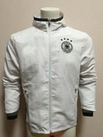 Wholesale Wind Windbreaker Jacket - 16-17 Germany Deutschland white Waterproof long sleeves Double layer soccer training Windbreaker football sport Hooded jacket Wind raincoat