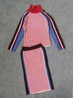 Wholesale Dress Autunm - New Style Pink Suit Dress High Neck Panelled Women Dress Winter Autunm Women Two Pieces Dress