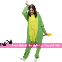 Wholesale Cosplay Pajamas Dragon - Anime Cosplay Dragon Green Party Costumes Leisure Household Animal Outfit Pajamas Jumpsuit Onesies for Sale Comfy Sleepwear Homewear Cheap