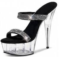 Wholesale Hotel Matches - Women 6 Inch Stripper Shoes 15 High-Heeled Shoes Noble Elegant Platform Gladiator Rhinestone All-Match Formal Dress Sandals
