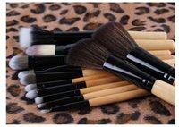escovas de leopardo venda por atacado-Leopardo caso escova cosmética set 12 pcs com cabo de madeira Maquiagem Brushes Set Pó Fundação Sombra Delineador Lip Brush Tool