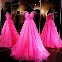 Wholesale Custom Made Prom Dresses Online - 2017 Fuchsia Crystal Prom Dresses Sweetheart Off the Shoulder Quinceanera Dresses Lace Up Custom Made Prom Gowns OnLine