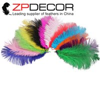 Wholesale Colored Ostrich Feathers Wholesale - Wholesale in ZPDECOR Factory (14-16inch) 35-40cm Good Quality Dyed Attracting Mix Colored Bluk Ostrich Feather for wedding table Decoration