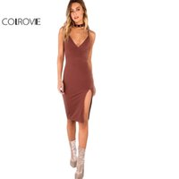 COLROVIE Sexy Bodycon Partykleid Frauen Braun V Neck Side Split Slim Sommer Cami Kleider 2017 Fashion Elegant Club Midi Kleid x20179