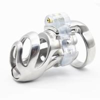gaiola de metal macho chastiy venda por atacado-Mais recente 3D Galo Galo Gaiola Aço Inoxidável Masculino Dispositivo de Castidade Gaiola Pênis Brinquedos Sexuais Para Homens XCXA359 Curto Longo