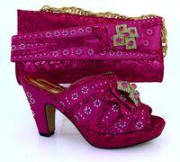 Wholesale Shining Diamond Shoes - Cherry Lady 2016 Italian fashion womens fine shining diamond high hell pumps shoes and bag set free shipping Red color fuchsia