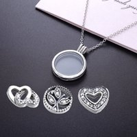 Wholesale Medium Locket - Floating Locket, Medium, Sapphire Crystal Glass Love & Family Petites Necklace 925 Sterling Silver Jewelry Clear CZ Necklaces & Pendants
