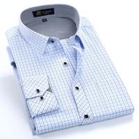Wholesale Fabric Collar Pattern - Wholesale-Summer 2016 Mens Long Sleeve Small Plaid Pattern Dress Shirt Fine Thin Cotton Blend Fabric Regular Fit Business Formal Shirts