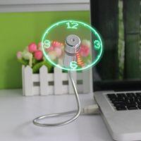 Wholesale Classic Lighting Products - USB Clock Fan USB Light Emitting Clock Fan True Led Fan UF-211-07 USB Power Supply 2017 New Product