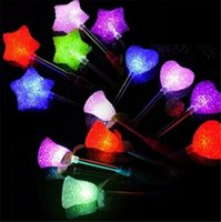 Wholesale Star Shaped Glow Sticks - NEW LED Stick Glow Star Wand Mixed Rose Heart Shaped Stick Flashing Light for Concert Party Novelty Led Toys
