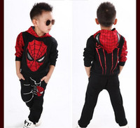 Wholesale Spiderman Baby Suit - Baby Boys Spring Autumn Spiderman Sports suit 2 pieces set Tracksuits Kids Clothing sets 100-140cm Casual clothes Coat+Pant