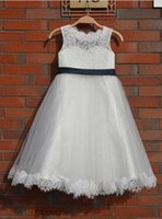 Wholesale Christmas Time Wedding Dresses - Lovely Ivory Lace Flower Girl Dress Wedding Baby Girls Dress Tulle Rustic Baby Flower Girl Dresses The Baptism Of the First Time Easter Clo