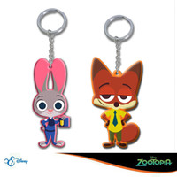 Wholesale Silicone Men Dolls For Women - 6cm Zootopia figures keychain ring PVC Keychain Ring Fox Nick Rabbit Judy Pendant Doll Toy Hanging Drops gifts for kids child