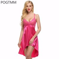 Großhandel- Sommer langes Satin Nightgown Frauen reizvolles Backless Braut kurzes Nachtwäsche-Nachtkleid-volles Beleg-Spitze-Silk Nachtwäsche-Hauptkleid XXL L5