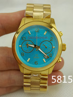 Wholesale Sexy Watches - Lovers Luxury Sexy Fashion Brand Watches 5815 8315 hours M Ocean Blue Watch Chronograph Gold Clocks Stopwatches Lover men lady