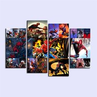 nackter kunstmann großhandel-Spider Man Hero, 4 Stück Home Decor HD gedruckt moderne Kunst Malerei auf Leinwand (ungerahmt / gerahmt)