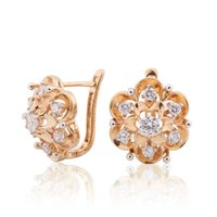 Wholesale Plant Hoops - New Fashion Exquisite Flower Hoop Earing Jewelry AAA Zirconia Crystal Stones Earrings for Women Valentine's Day Gift ES193