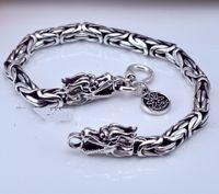 Wholesale Men Jewelry 925 Silver Piece - GZ Brand 1 piece 100% pure 925 sterling silver bracelet men jewelry S925 Dragon Head Chain bracelets Animal HYB7