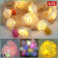 Wholesale Led Roses Wholesale - New Arrivals 2 m 20 LED Rose Decorative Flowers Fairy String Lighting Lamps Home Party Decor 9 colors choice Free Shipping