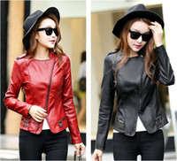 Wholesale Korean Paragraph Motorcycle Jacket - 2016 Autumn new Korean version of the small leather short paragraph Slim PU motorcycle jacket ladies coat big yards