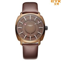 Wholesale Eyki Water - Top Brand Luxury Quartz-watch EYKI Famous Brand Quartz Mens Watches Clock Leather Strap Male Wristwatch Relogio Masculino Reloj
