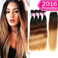 Wholesale ali queen - Unprocessed Straight Ombre Human Hair Weft Bundles With Closures Cheap Ali Queen 1B 4 27 Three Tone Colored Indian Weaves Closure