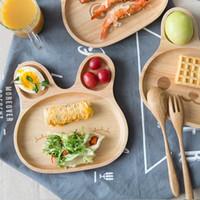 Wholesale Dish Child - 20*20cm Baby Dinner Plates, Cartoon Rabbit Shape Rice Dish Plates Burlywood Rubber Wood Children Dinnerware MOQ:6piece